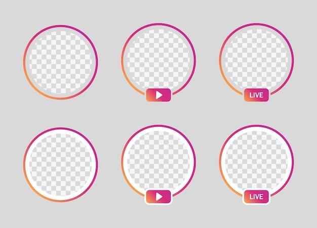 Ramka na żywo na instagramie, koło gradientu profilu dla mediów społecznościowych - transmisja na żywo