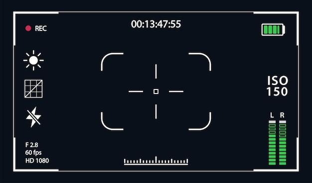 Ramka nagrywania szablonu viewfinde wyizolowana na przezroczystym tle wizjer wojskowy aparatu nocnego