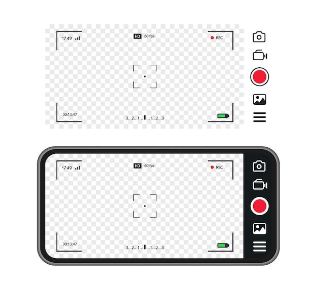 Ramka nagrywania viiewfonder koncepcja aparatu telefonu komórkowego ramka do fotografii ekranu do migawki wideo