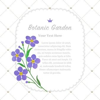 Ramka ogrodu botanicznego fioletowy nie zapomnij o mnie