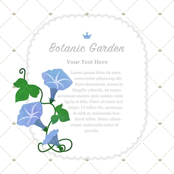 Ramka ogrodu botanicznego jasnoniebieski morning glory