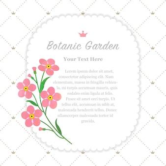Ramka ogrodu botanicznego różowa nie zapomnij o mnie