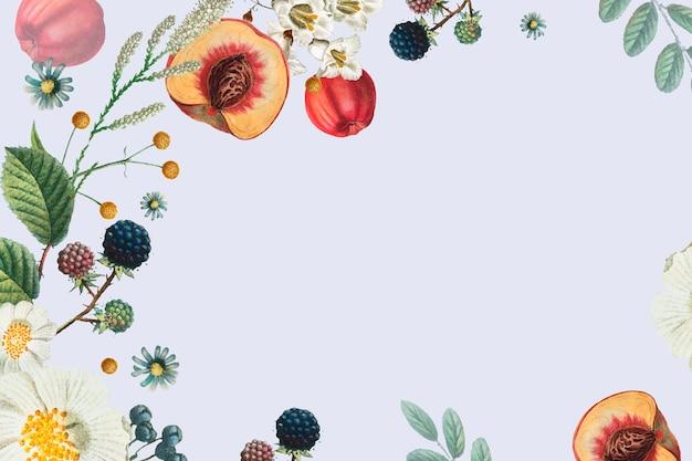 Ramka ozdobiona kwiatami i owocami