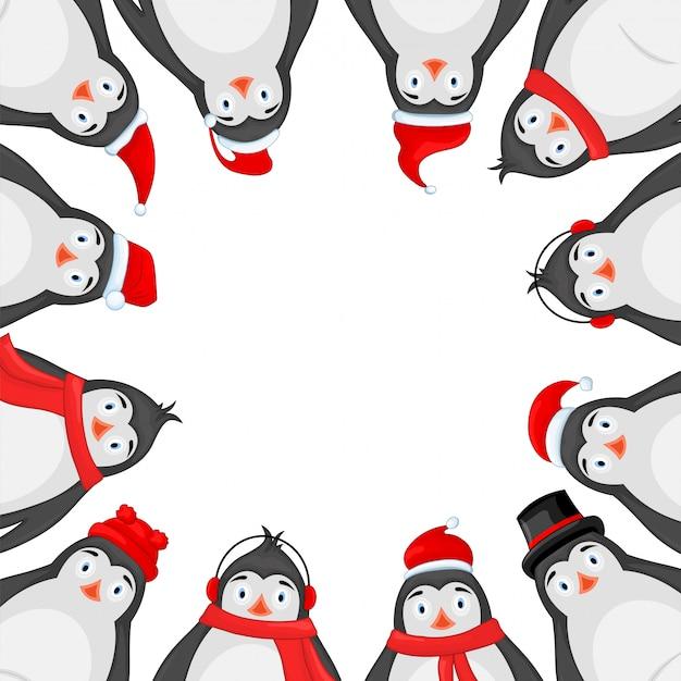 Ramka pingwinów polarnych w zimowych słuchawkach