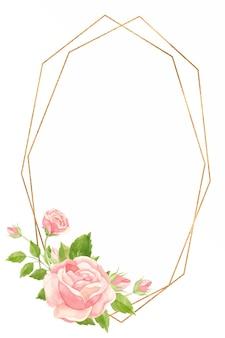 Ramka pionowa z różowymi różami i złotą ramą geometryczną floral