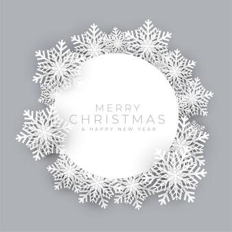 Ramka płatki śniegu na tło wesołych świąt bożego narodzenia