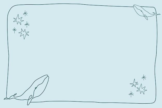Ramka płetwal błękitny, wektor wzór tła oceanu