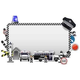 Ramka policji na białym tle