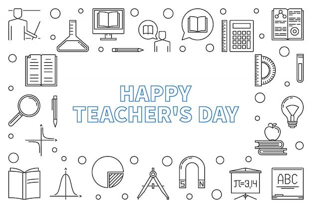 Ramka pozioma zarys szczęśliwy dzień nauczyciela
