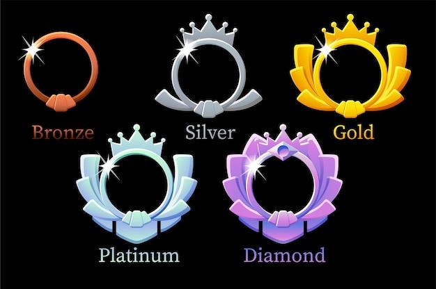 Ramka rankingu gry, złota, srebra, platyny, brązu, animacji kroków awatara w kształcie diamentu dla gry. ilustracja zestaw różnych półfabrykatów z koroną o nagrodę, ulepszenia projektu.