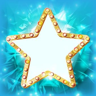 Ramka retro light gold star. premiere film, show, disco, kasyno