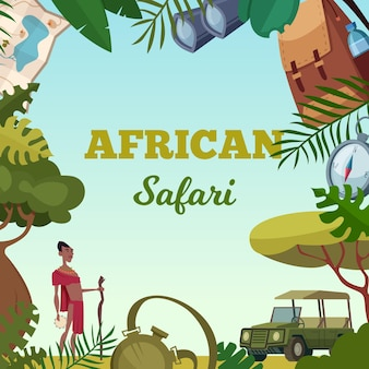 Ramka safari. afrykańska koncepcja podróży turystycznych na tle broszury przygodowej