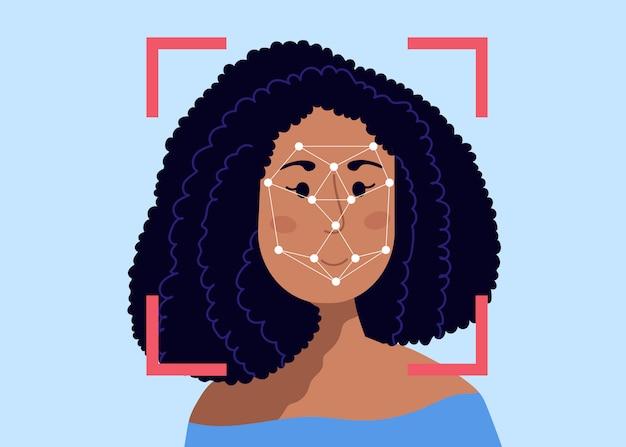 Ramka skanowania bezpieczeństwa i wielokątna siatka kropek na głowie kobiety. system rozpoznawania twarzy.