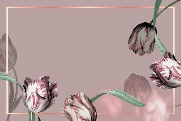 Ramka ślubna z obramowaniem tulipanów na brązowym tle