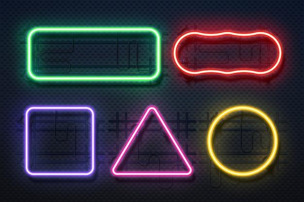 Ramka światła neonowego. element retro banner, futurystyczna fioletowa elektryczna granica, neon blask prostokątny baner.