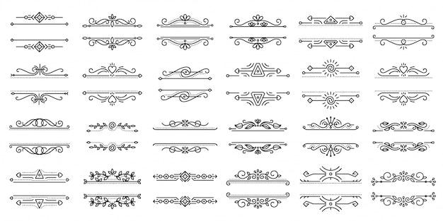 Ramka tekstowa ornament sztuka granica sztuka elegancki wystrój dla tytułowej książki książki czarna linia zestaw ikon.