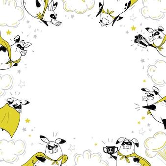 Ramka tła z zabawnymi, ręcznie rysowanymi postaciami z superbohaterami świni