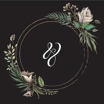 Ramka tytułu weselnego koło