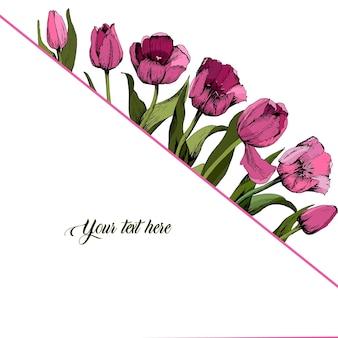 Ramka w kolorowe różowe tulipany. plakat. wiosenny nastrój. ilustracja wektorowa.