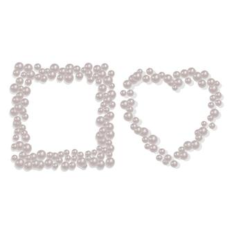 Ramka w kształcie serca i kwadratu z rozproszonych pereł