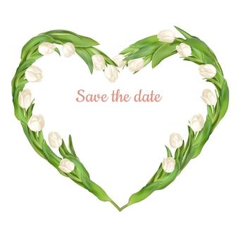 Ramka w kształcie serca z białymi tulipanami