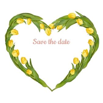 Ramka w kształcie serca ze świeżych tulipanów.