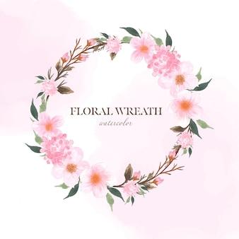 Ramka w kwiaty z różowymi kwiatami i kwiatem wiśni sakura