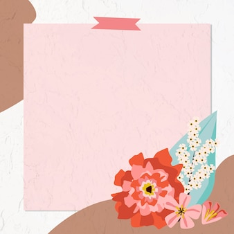 Ramka w kwiaty z taśmą washi