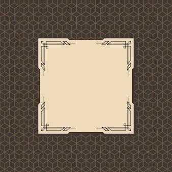Ramka w stylu art deco. kultura wzorców graficznych. zaproszenie ślubne orante. projekt transparentu lub etykiety w stylu retro vintage.