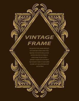 Ramka W Stylu Vintage Z Ornamentem Do Grawerowania Premium Wektorów