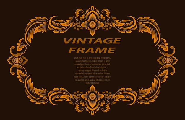 Ramka w stylu vintage z ornamentem do grawerowania