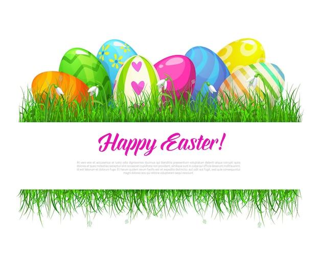 Ramka wielkanocna z ozdobnymi jajkami i wiosennymi kwiatami