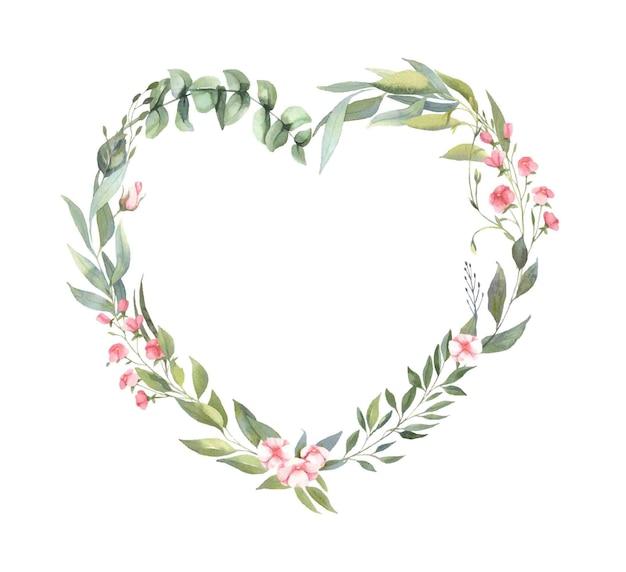 Ramka z bukietami różowych kwiatów, liści.