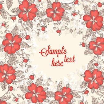 Ramka z czerwonymi kwiatami z miejscem na tekst