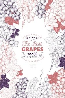 Ramka z jagód winogron z owocami