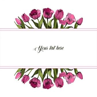 Ramka z kolorowych różowych tulipanów