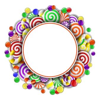 Ramka z kolorowymi cukierkami.
