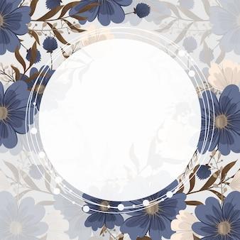 Ramka z kwiatem wiosennym - niebieski kwiat