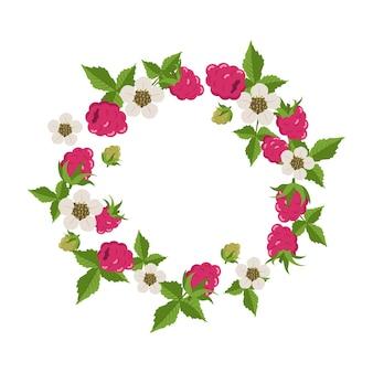 Ramka z malinami, liśćmi i białymi kwiatami na białym