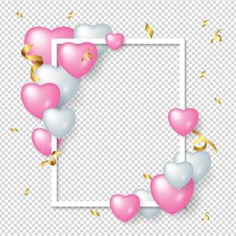 Ramka z miłością obchody balonu uroczysty