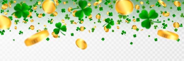 Ramka z okazji dnia świętego patryka z zieloną czwórką i koniczynkami z liści drzewa oraz złote monety irlandzkie symbole szczęścia i sukcesu.