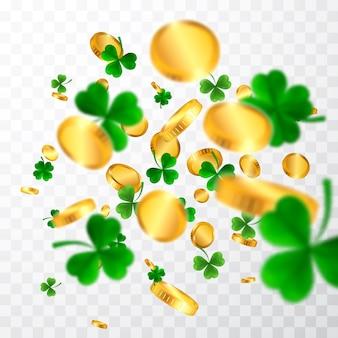 Ramka z okazji dnia świętego patryka z zieloną czwórką, koniczynkami i złotymi monetami irlandzkie symbole szczęścia i sukcesu.