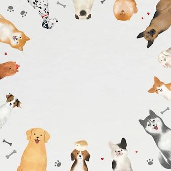 Ramka z psami na białym tle