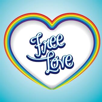 Ramka z sercem w kształcie serca z wiadomością free love