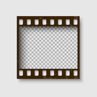 Ramka z taśmy filmowej 35 mm. pusty blanck negatyw fotograficzny. szablon rolki aparatu do twojego projektu. na białym tle
