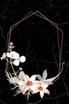 Ramka z tłem lilii i grotu strzałki bulltongue