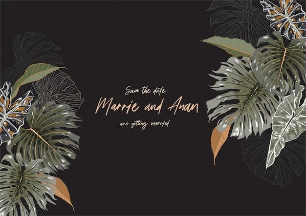 Ramka z tropikalnymi egzotycznymi liśćmi i liśćmi z miejscem na tekst
