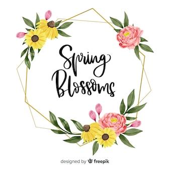 Ramka z wiosennych kwiatów w kwiatowy wzór
