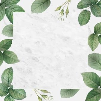 Ramka z zielonymi liśćmi