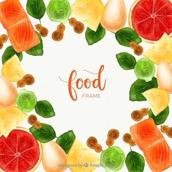 Ramka z żywności akwarela z kolorowym stylu